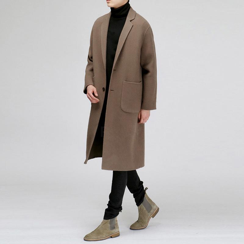 2017 mùa đông mới người đàn ông Hàn Quốc đôi phải đối mặt với cashmere coat len nam phần dài áo len coat men