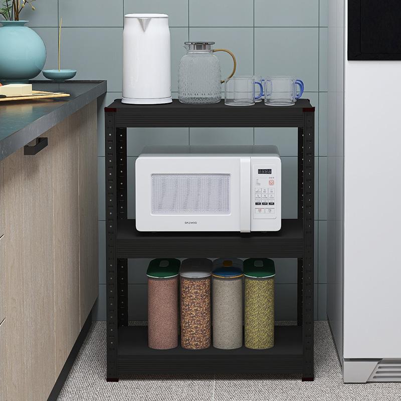 钢琴黑色厨№房置物架落地式多层微波炉烤箱架子收纳架家用省空间