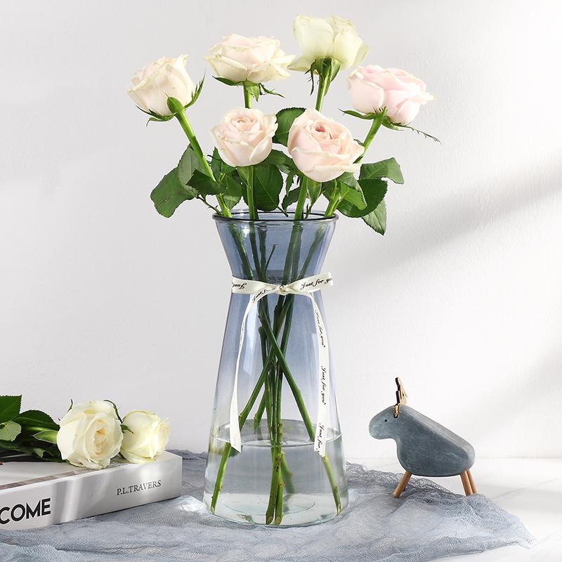 玻璃花瓶摆件现代简约客厅透明水培插花瓶北欧式餐桌装饰创意花瓶