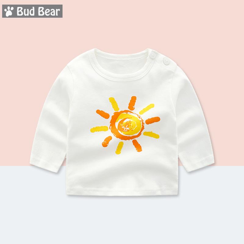 婴儿T恤长袖男0-1-3岁宝宝纯棉女童肩扣上衣小童打底衫春秋装衣服