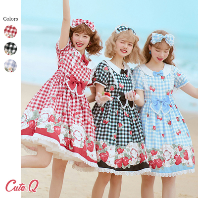 taobao agent 【Spot/replenishment】Dolly's little strawberry short-sleeved OPCuteQ light lolita red and black plaid dress