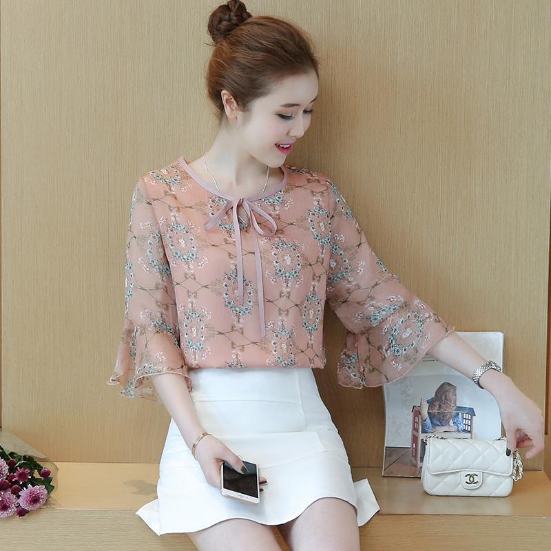 女装短袖碎花喇叭袖蝴蝶结雪纺衫-优惠10元包邮