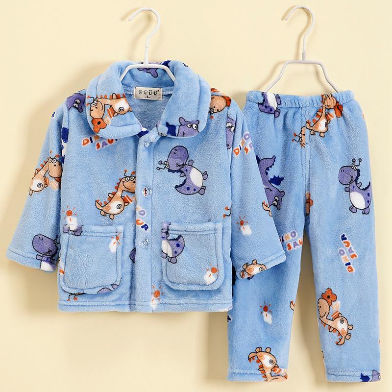 儿童加厚法兰绒睡衣套装男童小女孩秋冬宝宝保暖家居服双面珊瑚绒