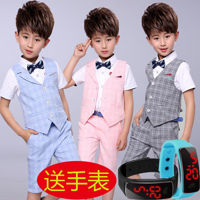 Chàng trai ăn mặc trẻ em phù hợp với nhỏ phù hợp với vest ba mảnh mùa hè cậu bé hoa cô gái ăn mặc trang phục máy chủ