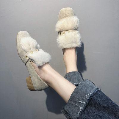 加绒毛毛鞋女秋冬百搭豆豆鞋女