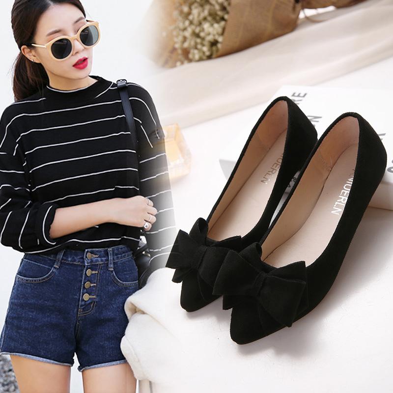 春季新款单鞋女鞋尖头浅口平跟平底蝴蝶结小大码黑色工作上班18