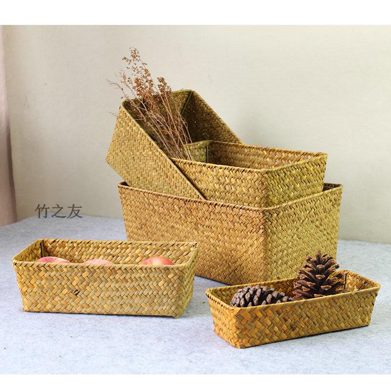 收纳筐日式复古海草编织篮桌面水果收纳置物盒藤编小篮子筐子竹编