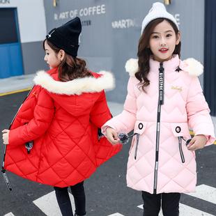 女童棉服秋冬新款童裝棉襖女孩中長款外套冬