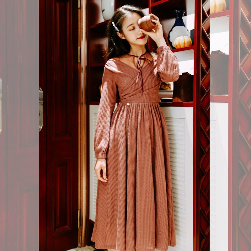 9820#燃情罗卡秋冬季法式复古女中长款针织打底连衣裙标价+30以上