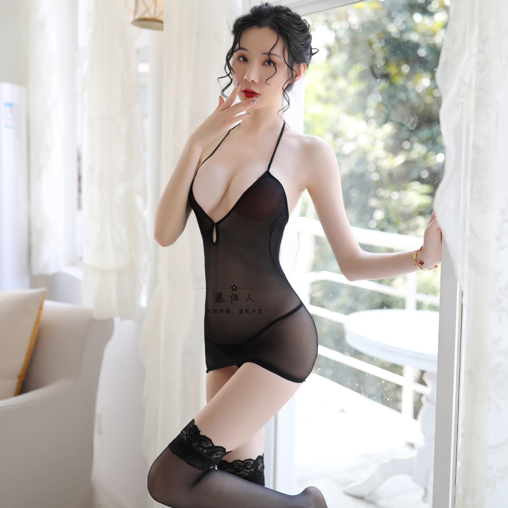 Mới quyến rũ ăn mặc gợi cảm nữ đồ lót khiêu dâm trong suốt sling trong suốt vú vớ bod bod chân đẹp bộ - Vớ mắt cá chân