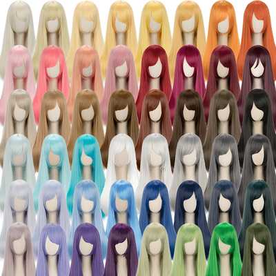 taobao agent Universal long straight hair 60cm black, white, gray, pink, yellow, blue, green, purple, brown, daily medium-length straight hair, Cos wig, 48 colors
