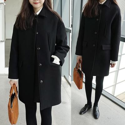 Áo len nữ phần ngắn Hàn Quốc phiên bản 2018 mùa đông mới mỏng sinh viên đơn ngực lỏng giản dị áo len Áo khoác ngắn