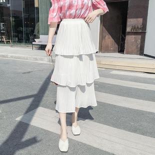 高腰雪纺半身裙子中长款裙子女秋冬女装修身2018年新款韩国版百搭