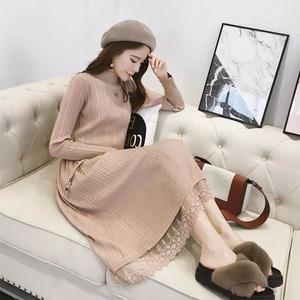 春装连衣裙韩版中长款洋气打底针织毛衣裙子