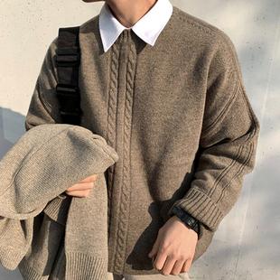 MRCYC корейский витой свитер мужчина свободный тенденция японский ретро хеджирование свитер зимний уплотнённый линия одежда ins