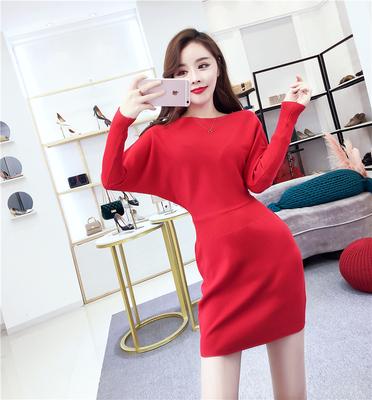 实拍韩版气质一字领蝙蝠袖收腰显瘦包臀针织连衣裙9447