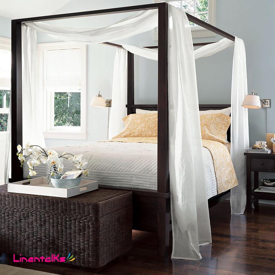 Cao cấp giường crepe gạc giường đầu trampoline đuôi 幔 công chúa Mỹ đơn giản bốn cột giường rèm gai rèm sợi, tùy chỉnh