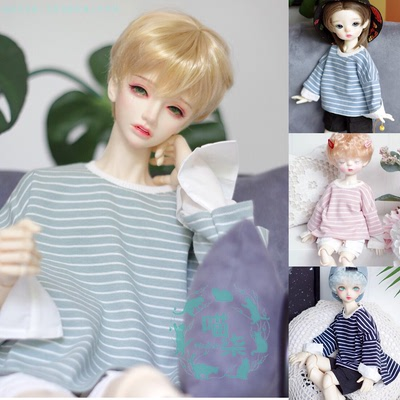taobao agent BJD baby clothes top fake two-piece shirt sleeve striped T-shirt for 6 points 4 points 3 points Pu Shu SD17 Meow Qi