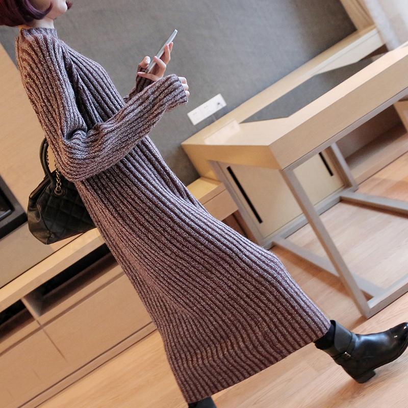 秋冬季女装欧洲站打底衫长袖毛衣裙针织连衣裙中长款秋装毛线长裙