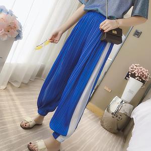 实拍7462#夏新款韩版宽松束脚运动裤女原宿bf高腰雪纺长裤百褶裤
