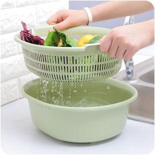 家用雙層塑料菜筐洗菜籃子客廳水果盤