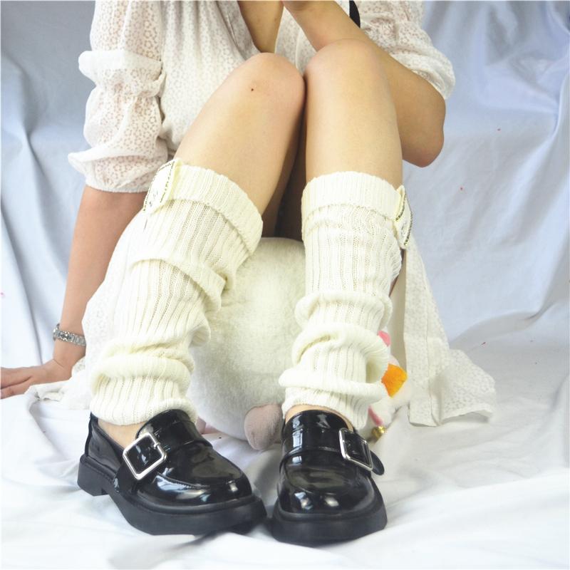 Vớ len ấm áp vào mùa thu và mùa đông, nút, xà cạp dệt kim cá nhân, giày cao cổ, vớ mỏng, vớ hoang dã - Vớ mắt cá chân