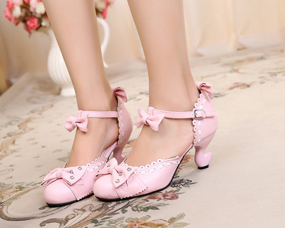 taobao agent Original lolita sweet color matching cute bow rhinestone high heel table foot simple handmade small leather shoes