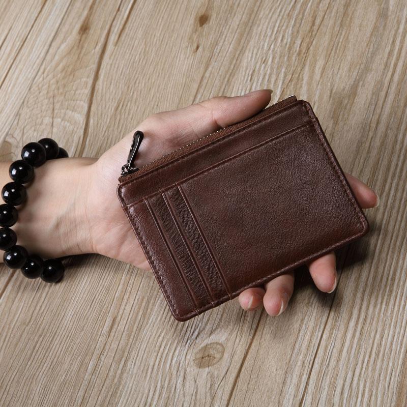 Gói thẻ của nam giới giấy phép lái xe da của nam giới siêu mỏng da đa chức năng thẻ nhỏ túi dây kéo của phụ nữ thống ví tiền xu