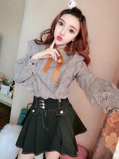 18春装新款韩版立领蝴蝶结系带衬衣女装荷叶边格子衬衫#4745实拍