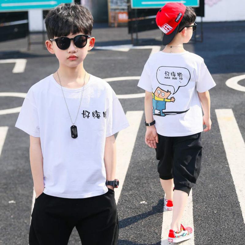 ins童装2019夏季韩版纯棉套装男童2件套运动中大儿童短袖两件套潮