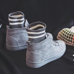 人本2018秋冬加绒棉鞋女新款保暖帆布鞋韩版学生百搭高帮内增高鞋