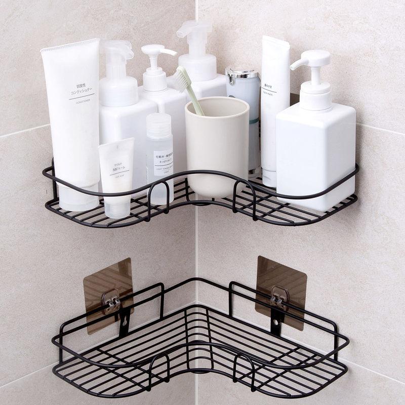【免打孔无痕】浴室卫生间厨房置物架�三角架壁挂厕所洗手间收纳35