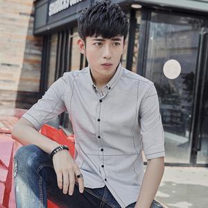 #2613夏装男装衬衫中袖衬衫五分袖格子衬衫休闲大格子衬衫男