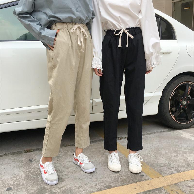 Mùa xuân mới của Hàn Quốc phiên bản của lỏng mỏng đàn hồi eo dây đeo hậu cung quần chín điểm sinh viên quần thẳng quần âu thủy triều nữ