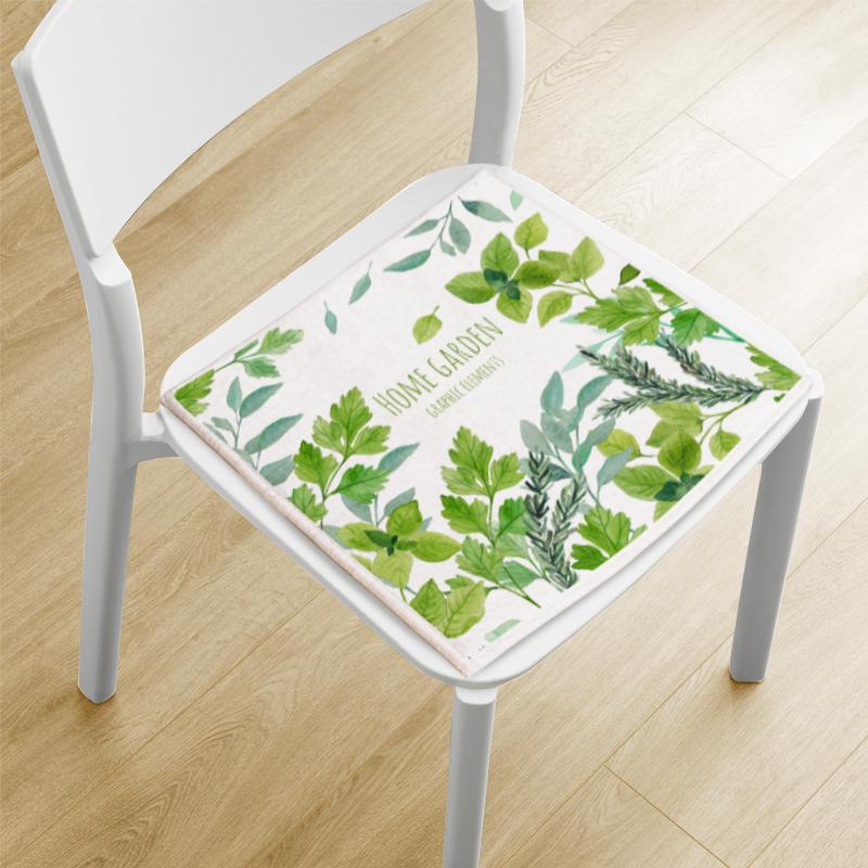 简约<font color='red'><b>植物</b></font>坐垫椅垫棉麻坐垫防滑椅垫办公室