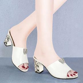 夏季外穿新款水钻中跟鱼嘴高跟鞋