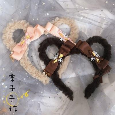 taobao agent Original homemade Lolita element bear ear headband cute bow KC hair accessories Lolita brown daily small things