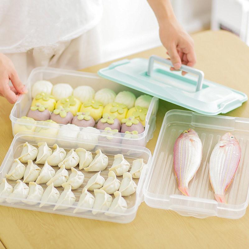 速冻饺子盒分格饺子保鲜盒托盘冰箱保鲜收纳盒馄饨盒多层家用大号