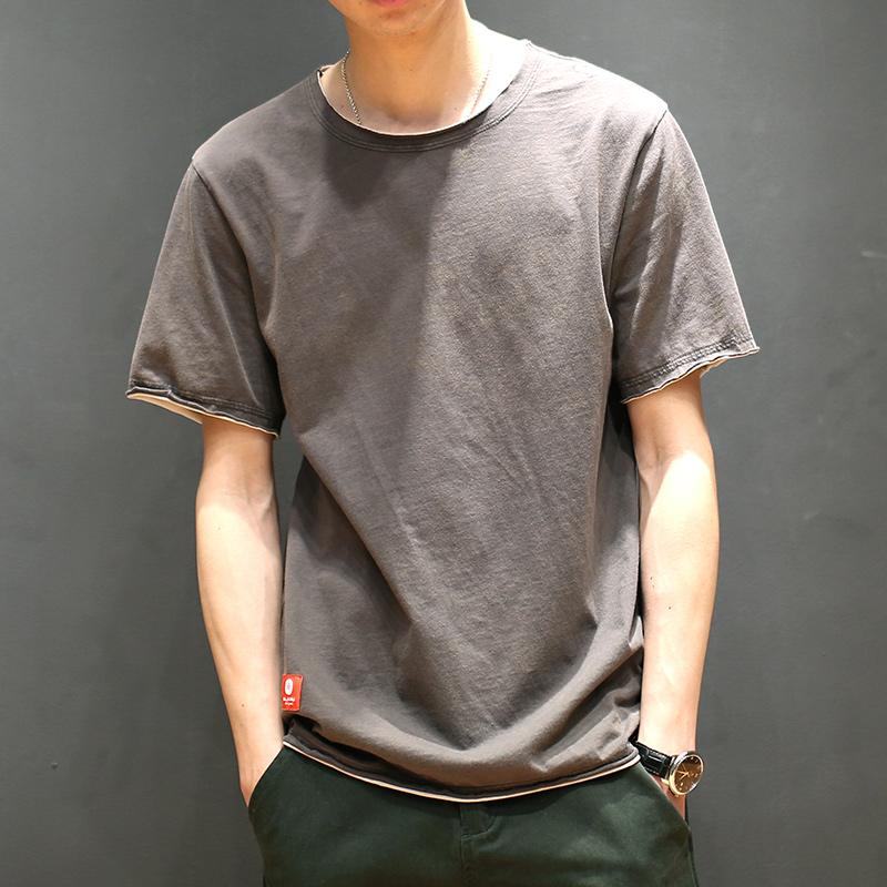 马切达男装夏季宽松短袖T恤男士日系圆领纯棉体恤假两件上衣潮流