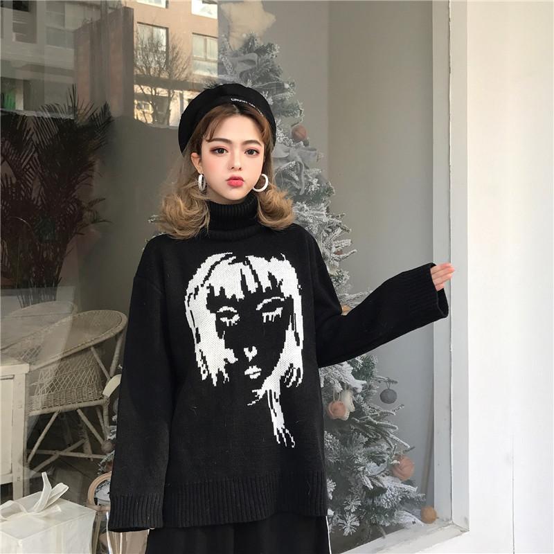 实拍~韩版简约风百搭高领人头抽象提花宽松显瘦长袖套头针织毛衣