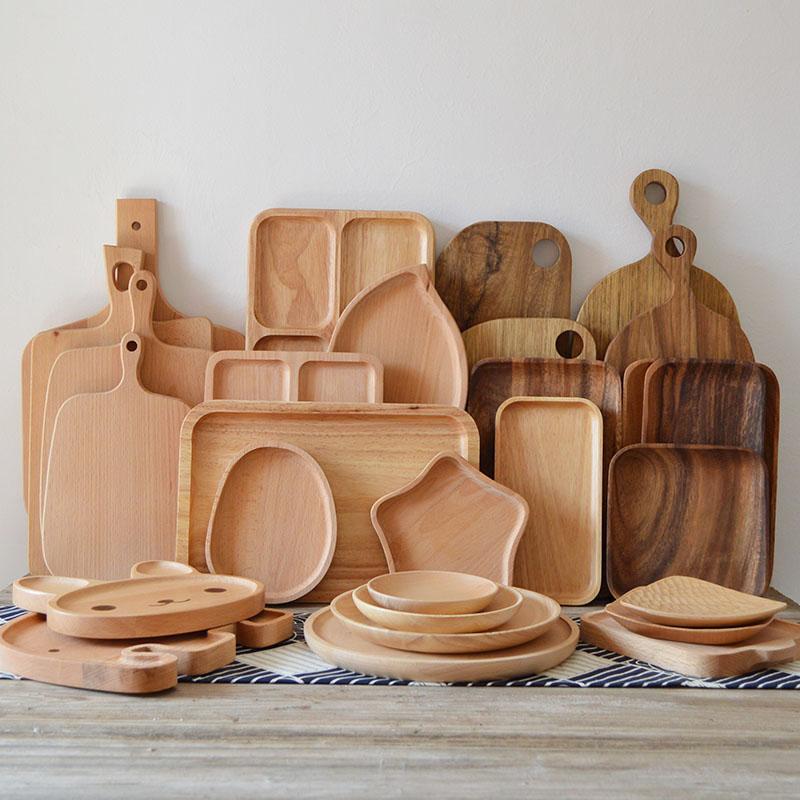 Nhật Bản phong cách bằng gỗ tấm rắn khay gỗ hình chữ nhật trà khay kích thước, tấm gỗ bữa ăn tối tấm món ăn món tráng miệng món ăn bằng gỗ đĩa trái cây