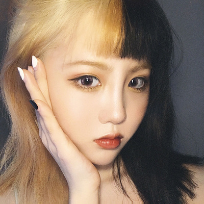 taobao agent Wig female short straight hair net celebrity air bangs black and yellow double fight medium-length straight hair lifelike natural clavicle long hair set