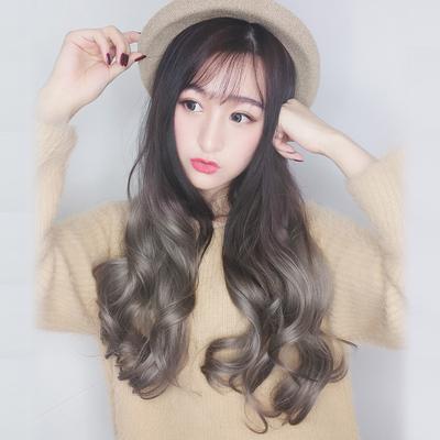 taobao agent Water dance wig female long hair U-shaped long curly hair big wave fluffy net red green gray blue powder purple one piece half hood