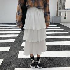 实拍气质百褶裙女秋冬2018新款高腰多层蛋糕裙a字裙半身裙