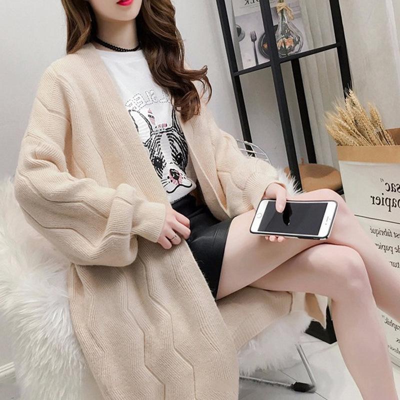 2018秋冬中长款毛衣外套韩版针织衫开衫女士灯笼袖时尚宽松毛衣
