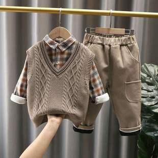 新款兒童毛衣馬甲三件套