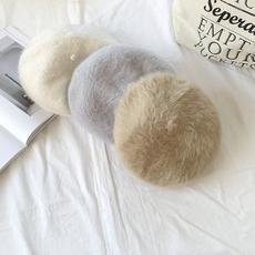 实拍秋冬新款韩版复古chic风蓓蕾帽甜美纯色加厚针织兔毛贝雷帽