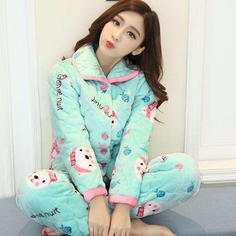 睡衣女冬韩版甜美可爱学生加厚加绒珊瑚绒三层夹棉家居服套装保暖