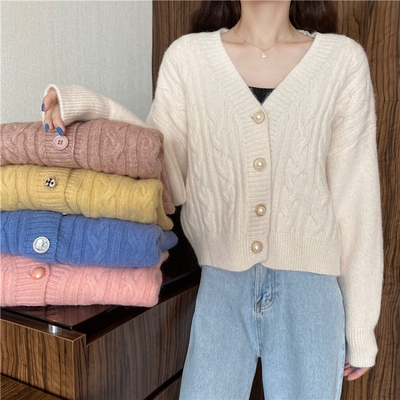 taobao agent Knitted cardigan women's spring and autumn 2021 new v-neck long-sleeved sweater coat loose and lazy outer wear early autumn top
