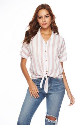 2518#实拍现货亚马逊速卖通ebay欧美女士条纹绑结系带短袖衬衣